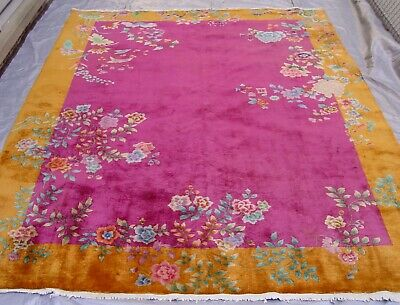 ANTIQUE ART DECO CHINESE HAND KNOTTED WOOL ORIENTAL RUG 8.8 x11.4 (9x12)