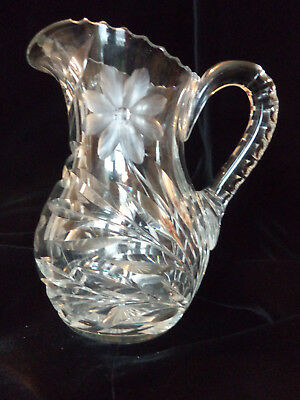 Antique Victorian Vintage ABP Heavy Cut Crystal Etched Floral Design Pitcher!