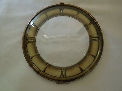 "Vintage Anker Mantel Clock Dial with Brass Bezel & Convex Glass Lens 7 1/4"" Dia."