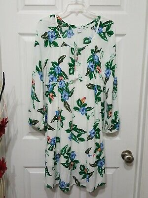 Old Navy 2pc Floral Long Sleeve Crinkle Dress Size Medium
