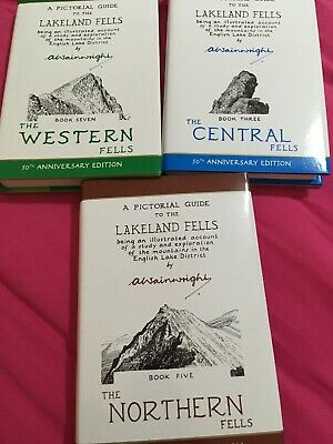 Alfred Wainwright Pictorial Guide To the Lakeland Fells 3 book set brand new