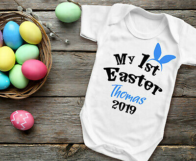 Custom My 1st Easter white baby grow bodysuit vest.