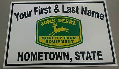 Personalized John Deere(Quality Farm) Tractor Aluminum Name Sign