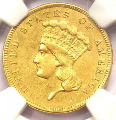 1860 Three Dollar Indian Gold Coin $3 - Certified NGC AU Details - Rare Date!
