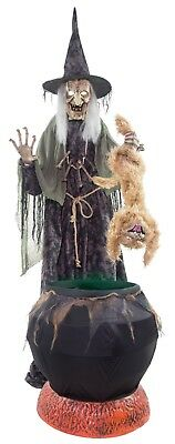 Animated LifeSize WICKED WITCH COOKING CAT IN BREW Halloween Haunted House Prop