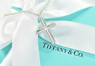 "Tiffany & Co Sterling Silver Concave Cross 24"" Necklace +BOX POUCH RIBBON Christ"