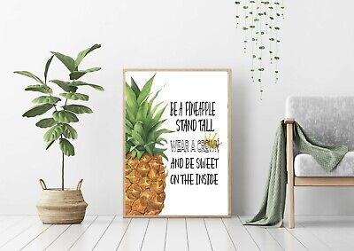 Wall Art, Print, Poster, Pineapple, Tropical, Funny Quotes, Unframed, Home Decor