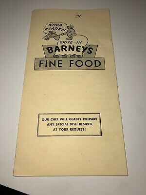 Vintage Barneys Drive In Menu Fine Food