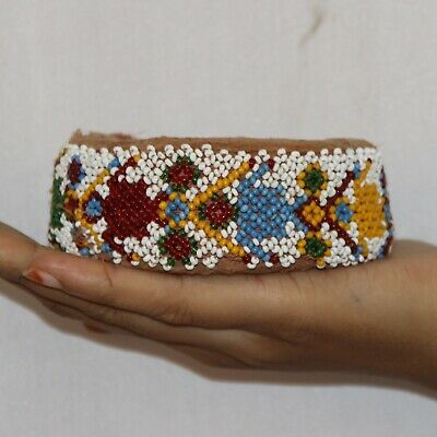 Pot Ring Cloth Hand Beads Made Indian Tribal Woman Head Pot Vintage Ring - 11370