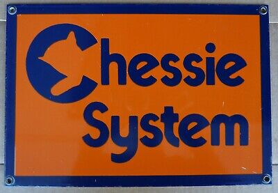 VINTAGE ANDE ROONEY PORCELAIN METAL CHESSIE  RAILROAD SYSTEM SIGN 11 x 7 INCHES