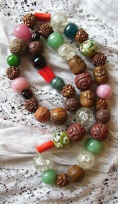 Antique 19thC Japanese Ojime Bead Necklace Collection Of 44 Rare Ojime Beads.
