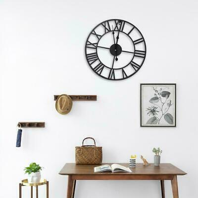 Decor Vintage Wall Clock DIY Metal Roman Numerals Quartz Large Dial Open Face