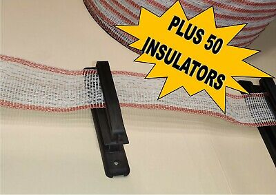 POLY TAPE red & white 40mm 200 METRE ROLL  ++  PLUS 50 insulators electric fence