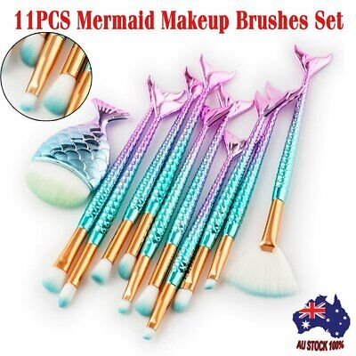11PC Mermaid Makeup Brushes Set Fish Tail Foundation Eyeshadow Cosmetic Brush MN