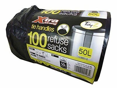 100 x Black Tie Handle Drawstring Bin Bags Strong Extra Refuse Waste Sack 50L