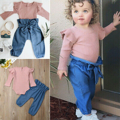 Newborn Toddler Infant Kid Baby Girl Clothes Ruffle Romper Long Pants Outfit Set