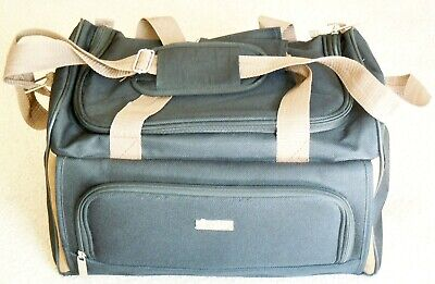 Ralph Lauren Chaps Carry On Black & Tan Canvas Bag Suitcase Duffel Bag