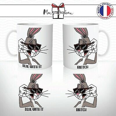Mug Bugs Bunny Cartoon Lunettes Cool Deal With It Biatch - Tasse Personnalisée