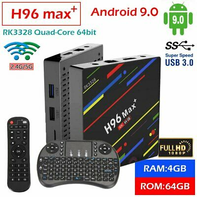 4GB/64GB H96 MAX Plus+ Android 9.0 Smart TV Box Quad Core USB3.0 WIFI + Keyboard