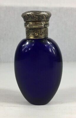 Antique White Metal Mounted Bristol Blue Glass Scent Bottle 9cm In Height