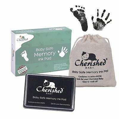 Cherished Baby Black Ink Handprint/Footprint Ink Pad Kit – 100% Baby Safe