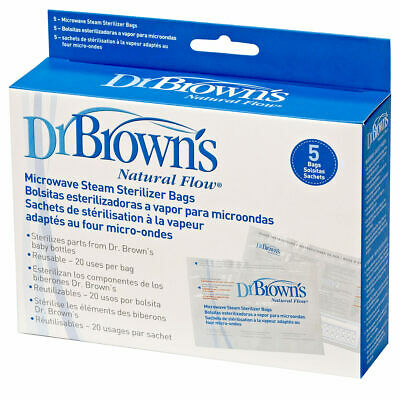 Dr Brown's Options REUSABLE Microwave Sterilise Bags (Pack of 5) - use 100 times