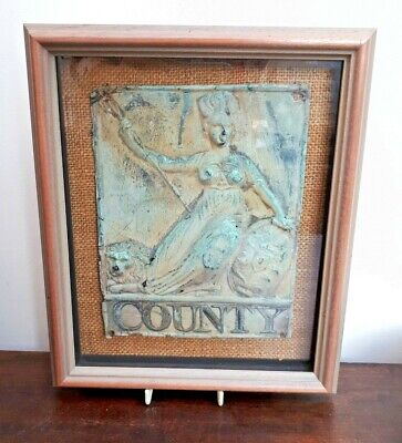 Original Copper County Insurance Firemark Plaque Framed Late 19th Century