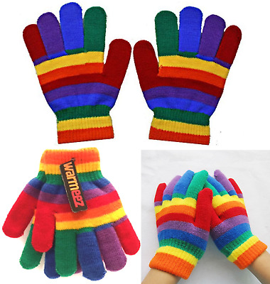 Boys Girls Rainbow Magic Gloves Pair Children Winter Warm Soft Stretch Fingers