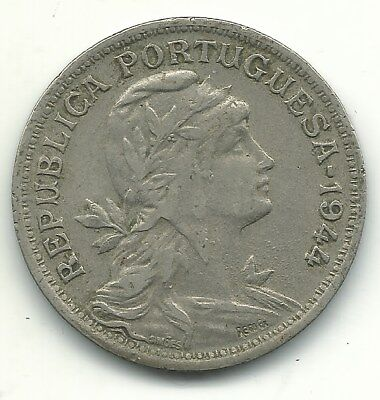Very Nice Higher Grade 1944 Portugal 50 Centavos Coin-May373