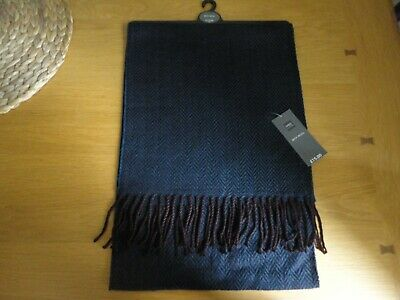 M&S Mens Scarf Navy/Burgundy Herringbone RRP £15 BNWT FREEPOST