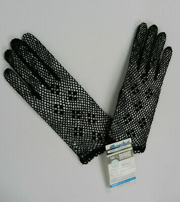 Shanghai Womens Gloves Black Handmade Lace Loose Net Cotton Stretch Fancy New