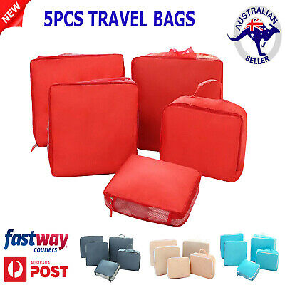 5Pcs Travel Organiser Pouches Storage Bag Packing Cubes Clothes Suitcase Luggage