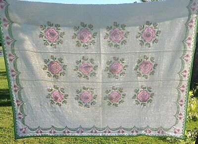 "Vintage Hand Quilted Hand Embroidered Quilt 81"" x 90"" Green Floral"