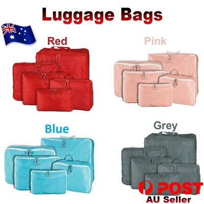 5Pcs Packing Cubes Travel Pouches Luggage Organiser Clothes Suitcase Storage Bag