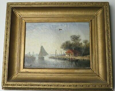 Antique European Oil Painting on Canvas Water Harbor Scene Sail Boat Sailing OLD