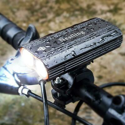 USB Bicycle Headlight Dual Barrel Bright LED Front Rear Tail Lamp 2000 Lumen kit