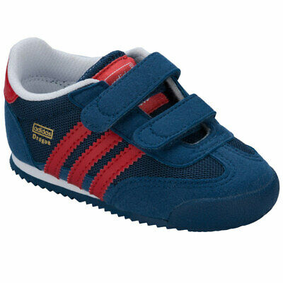 adidas Originals Dragon CF Infant Trainers Boys Girls Blue Red Hook & Loop Kids