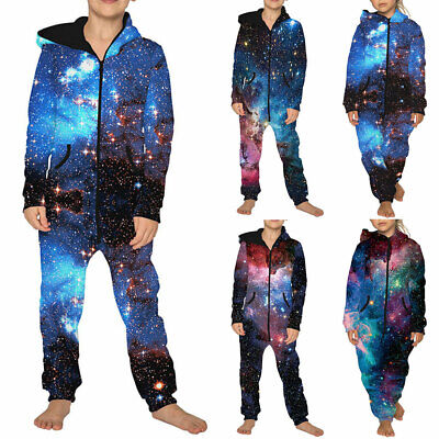 Boys Girls Kids Galaxy Hoodie Jumpsuit Playsuits Romper Joggers Tracksuit Outfit