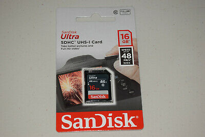 SanDisk Ultra SDHC UHS-I 16 GB Class 10 Flash 48MB/s Memory Card New Retail Pack