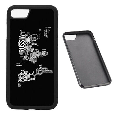 World Map in Words RUBBER phone case Fits iPhone