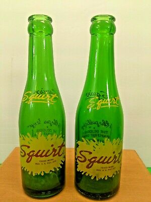 VINTAGE SQUIRT 6 PACK CARDBOARD  CARRIER /& 7 OZ BOTTLES 1940/'s 1950/'s