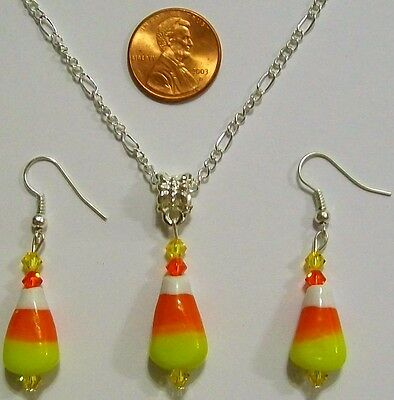 """Halloween Necklace & Earring Set-Candy Corn-Lampwork Glass-24""""-Handcrafted-#836"""