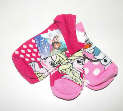 Disney Frozen 3 Pairs Girls Socks Elsa and Anna Red Pink Size 6-8 NWT
