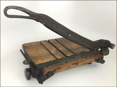 Antique GOLDING Industrial Steampunk Iron & Wood Hand Lever Boston Paper Cutter