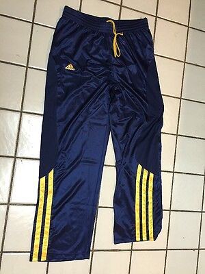 ADIDAS CLIMALITE 3 STRIPE blue Gold Athletic Side Snap Pants BASKETBALL Mens XXL