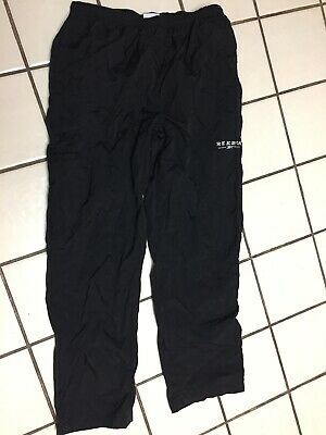 Reebok pants mens L Black Ripstop Warm Up athletic sport Track Running lined