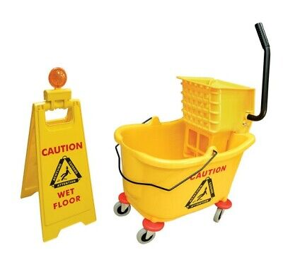 "Commerial Yellow Bucket, Wringer and Caution Sign Set Heavy Duty 36L 3"" Castors"