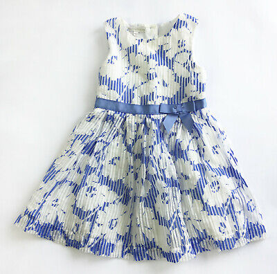 RJR John Rocha Girl's Floral Print Party Dress - Blue & White - 2-3 Years (BC32)