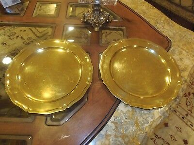 Antique Tiffany & Co Sterling Silver Gilt 2 Large Charger Plates Cr. 1910