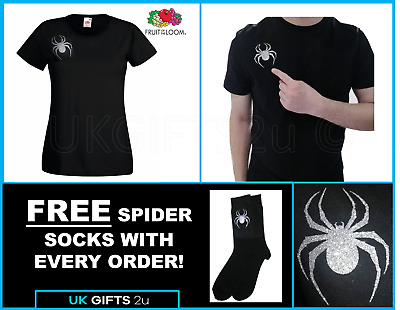 Lady Hale GLITTERY SPARKLY SPIDER Brooch T-shirt Boris Gift brexit + FREE SOCKS!